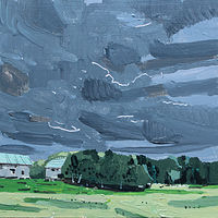 Acrylic painting November Farm by Harry Stooshinoff