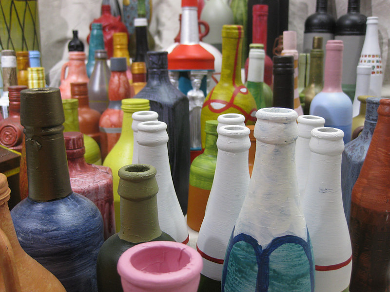 Acrylic painting 99 Bottles (For KM), installation detail by Graham Hall