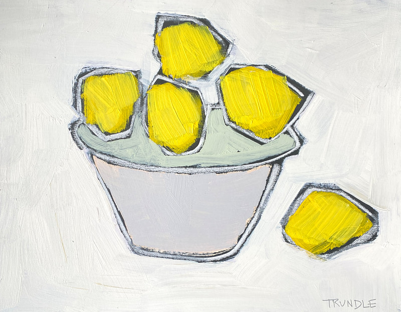 Acrylic painting Lemons In Grey Bowl by Sarah Trundle