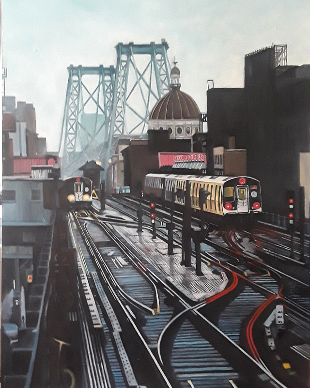 Oil painting Williamsburg Stop by Timothy Innamorato