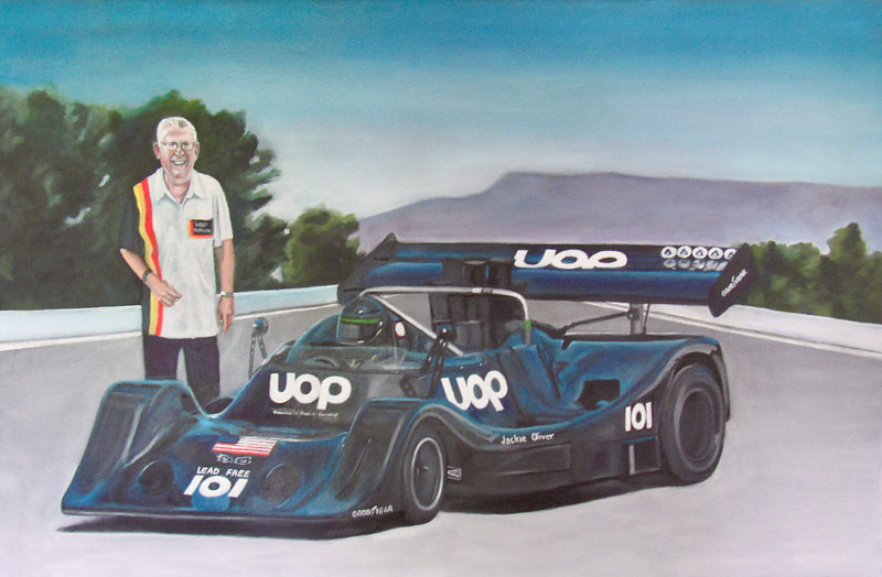 Oil painting Race car commission by Timothy Innamorato