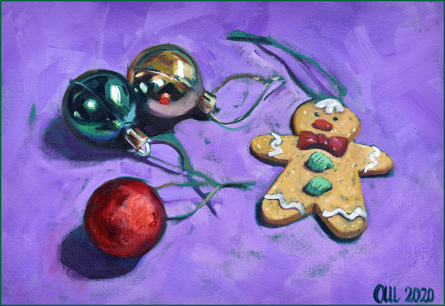 Oil painting gingerbread manframe by Angelo Mariano