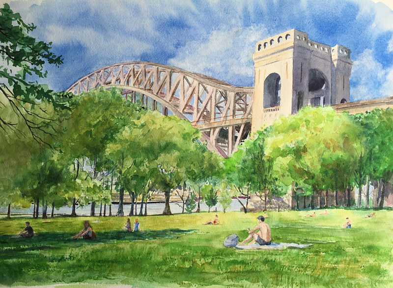 Watercolor 11x14 Print- Summers at Astoria Park by Elizabeth4361 Medeiros