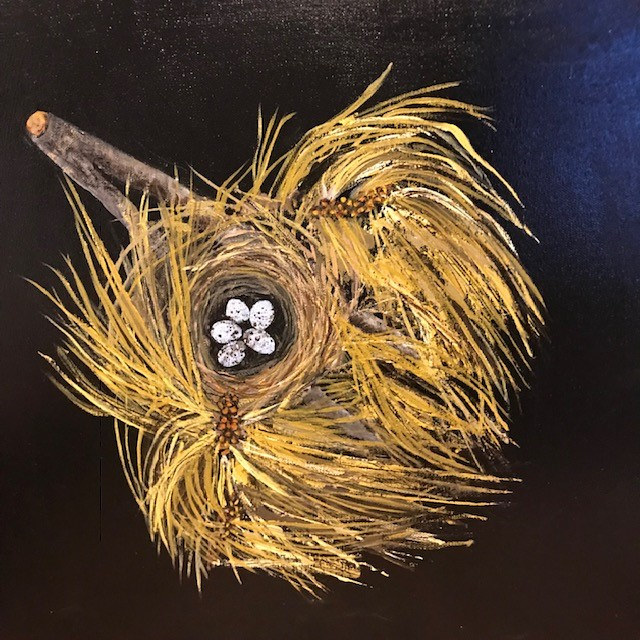 Acrylic painting nest by carol Ross