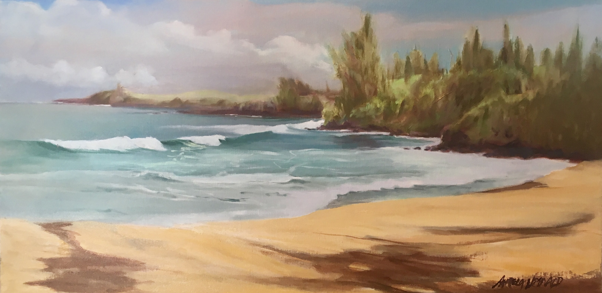 Oil painting Fleming Beach  by Pamela Neswald