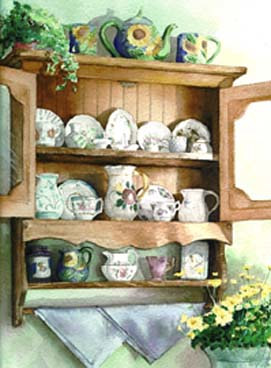 Watercolor Tea Time Cabinet Signed Gyclee Print by Elizabeth4361 Medeiros