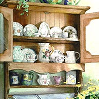 Watercolor Tea Time Cabinet by Elizabeth4361 Medeiros