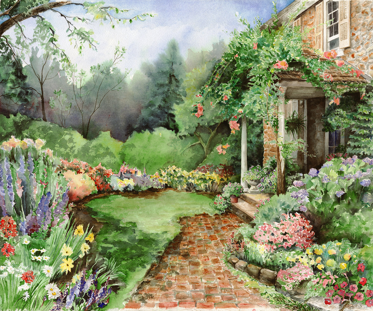 Watercolor English Garden Signed Gyclee Print by Elizabeth4361 Medeiros
