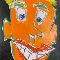 Acrylic painting Mr. Orange Head by Sarah Trundle
