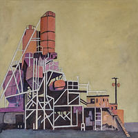 Acrylic painting Redmond Cement FActory by carol Ross