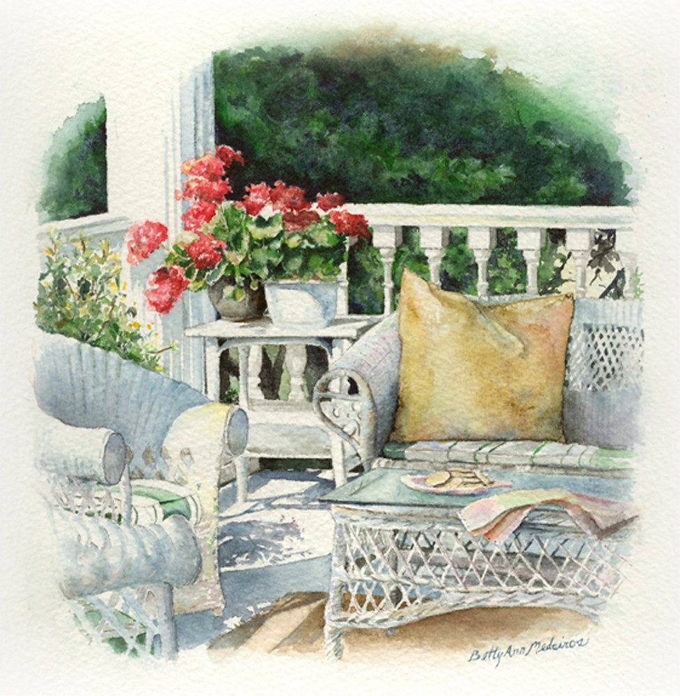 Painting Wicker Chairs Signed Gyclee Print by Elizabeth4361 Medeiros