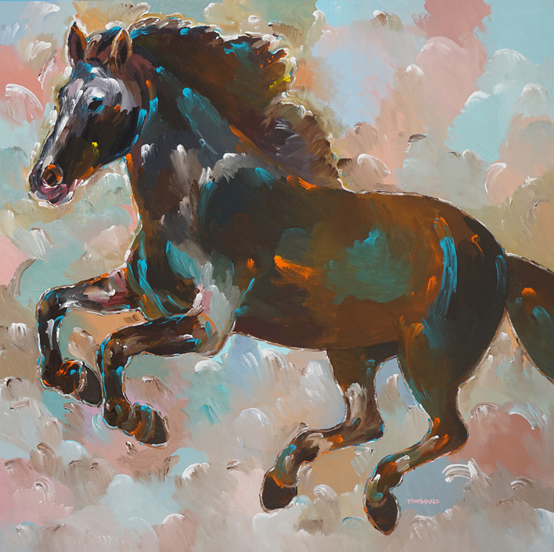 Thunder Runner, 36x36 inches, acrylic on canvas by Hooshang Khorasani