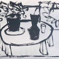 Acrylic painting Black and White Tabletop, II by Sarah Trundle