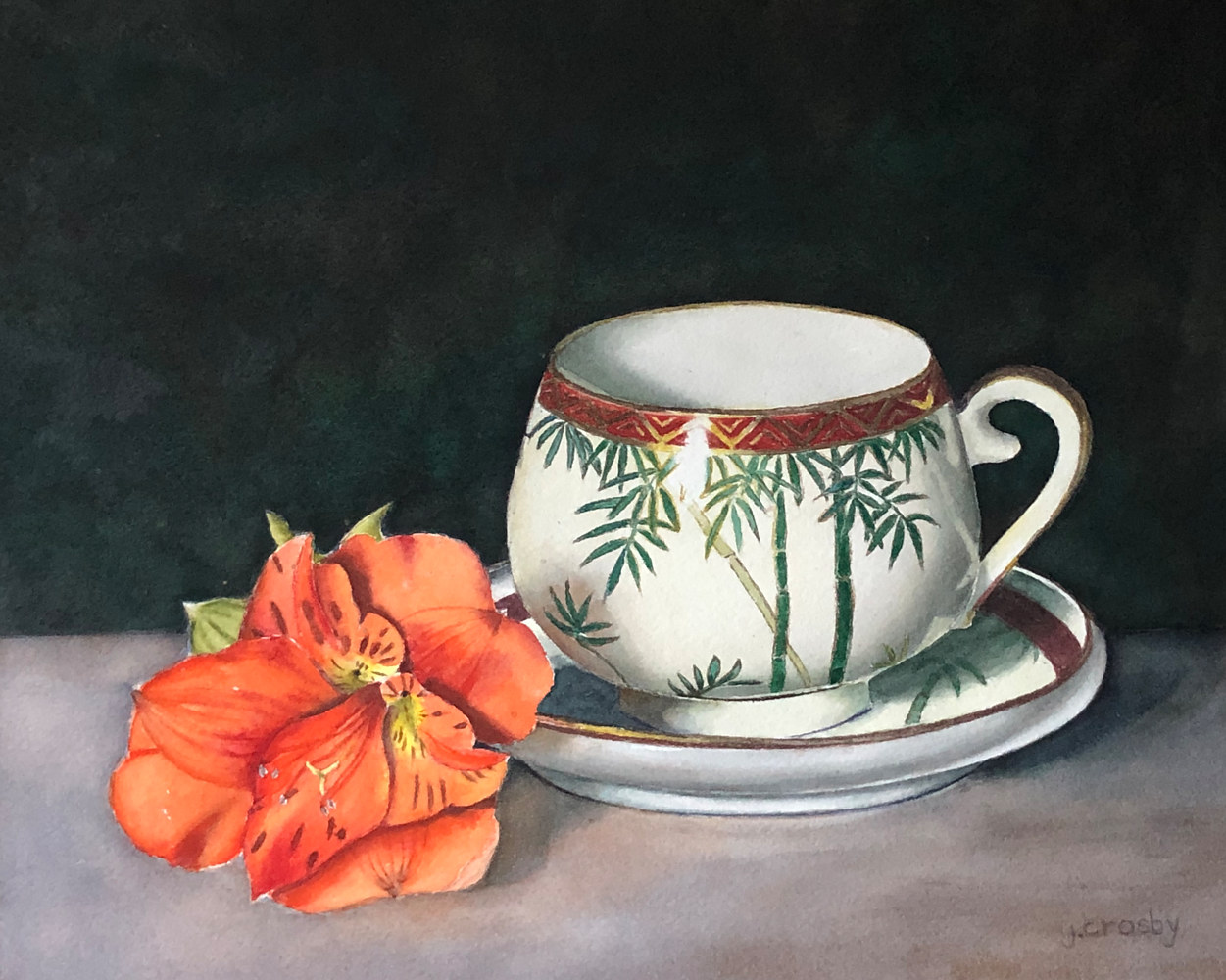 Watercolor Bamboo Teacup and Alstromeria by Jane Crosby