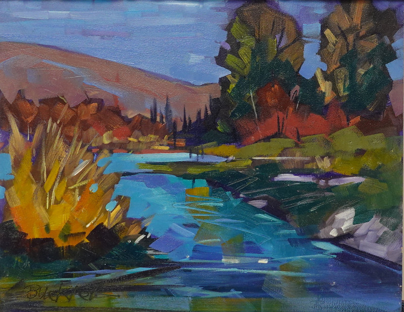 Autumn Stream Oil 8x10 by Brian  Buckrell