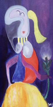 "Oil painting ""Girl With Flower - My Picasso"" by Mike Salcido"