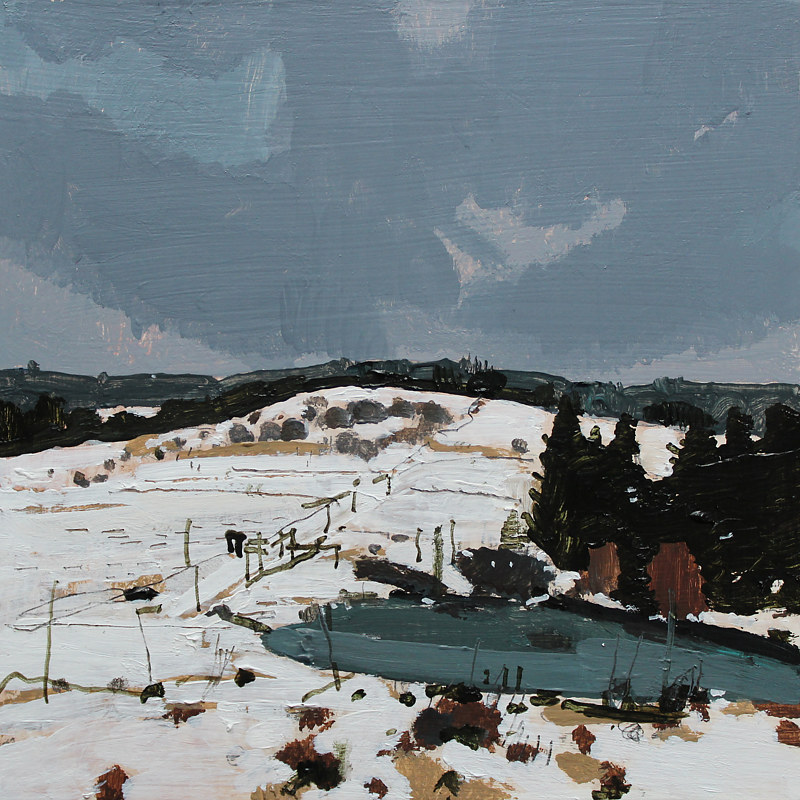 Acrylic painting Winter Pasture by Harry Stooshinoff