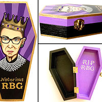 Acrylic painting Notorious RBG Mini Coffin Box by Yumi Knight