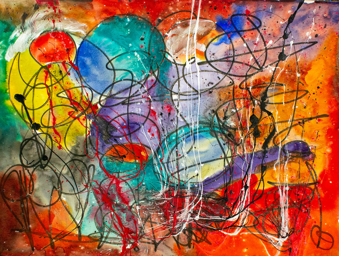 Acrylic painting Whirlwind of emotions | Tourbillon d'emotions by Nathalie Gribinski