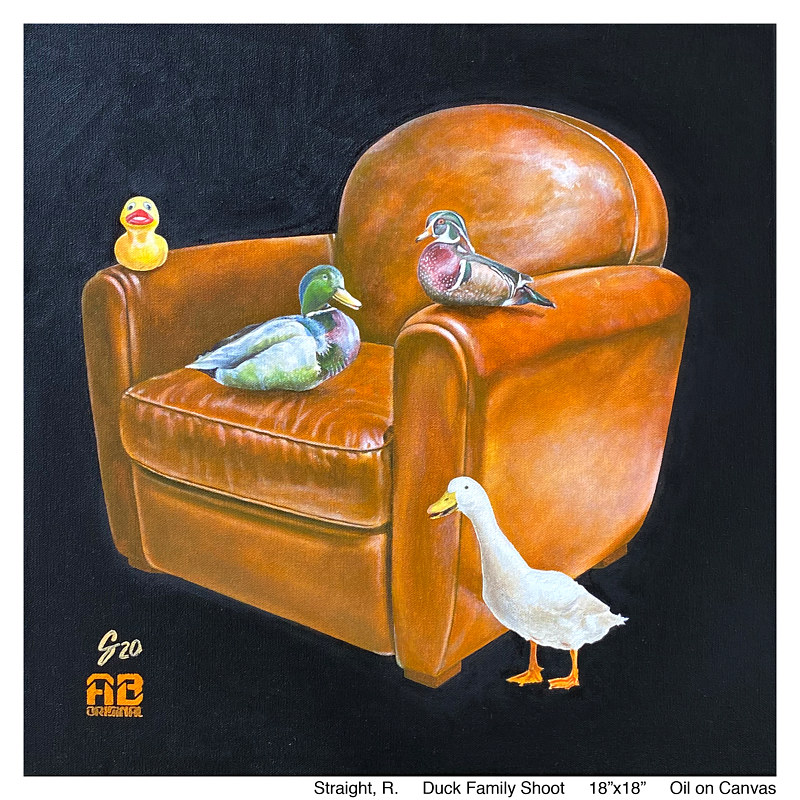 Drawing Duck Family Shoot lge by Ron Straight