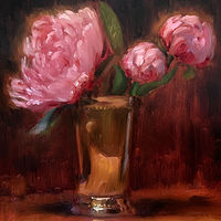 """Peonies in Silver""  by Noah Verrier"