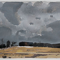Painting December Field by Harry Stooshinoff