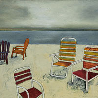 "Oil painting ""Waiting For Friends To Join Me"" Available For Purchase at Fogue Gallery by carol Ross"