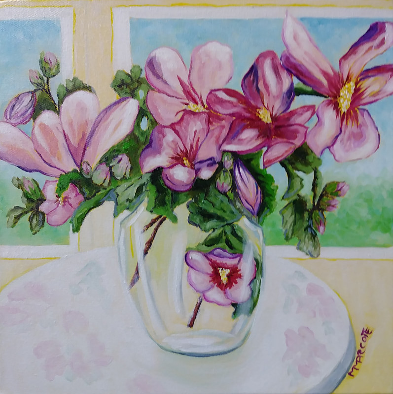 Oil painting Rose of Sharon in a Glass Vase by Michelle Marcotte