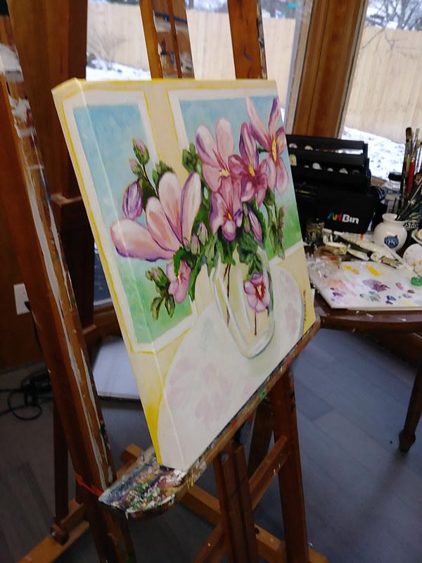 Painting Rose of Sharon in a Glass Vase studio view by Michelle Marcotte