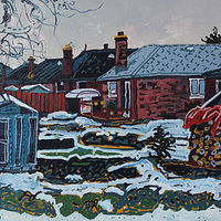 Acrylic painting Winter Yard by Harry Stooshinoff
