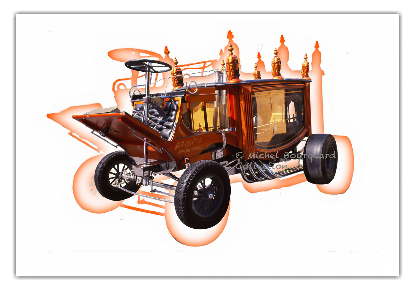 089-Classic Car orange shadow 2 by Michel Bourquard