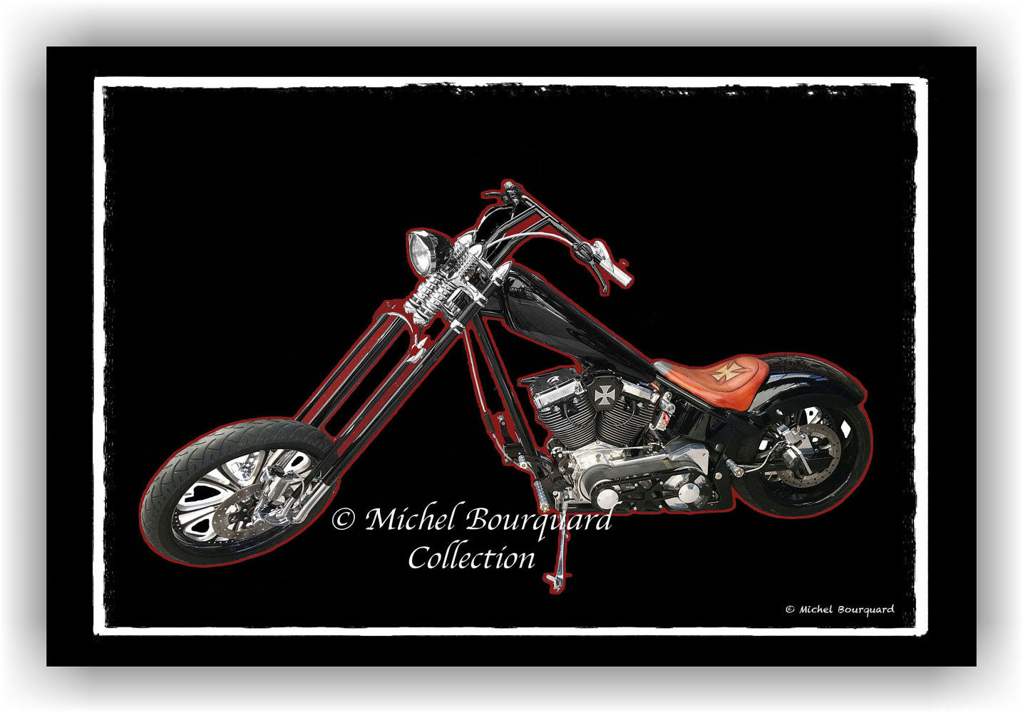 086-Motocycle Pop  Easy rider in BW -the black and red line copy by Michel Bourquard