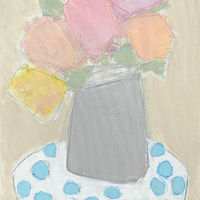Acrylic painting Flowers with Polka Dots by Sarah Trundle