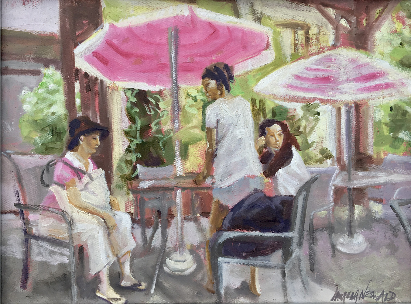 Oil painting Maui Swiss Cafe by Pamela Neswald