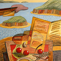 Acrylic painting The Good Book & The Sea by Trevor Pye