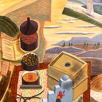 Acrylic painting Magnum Opus as Still Life by Trevor Pye