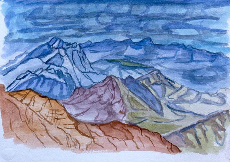 Watercolor Blue Peaks  by Crystal Dipietro