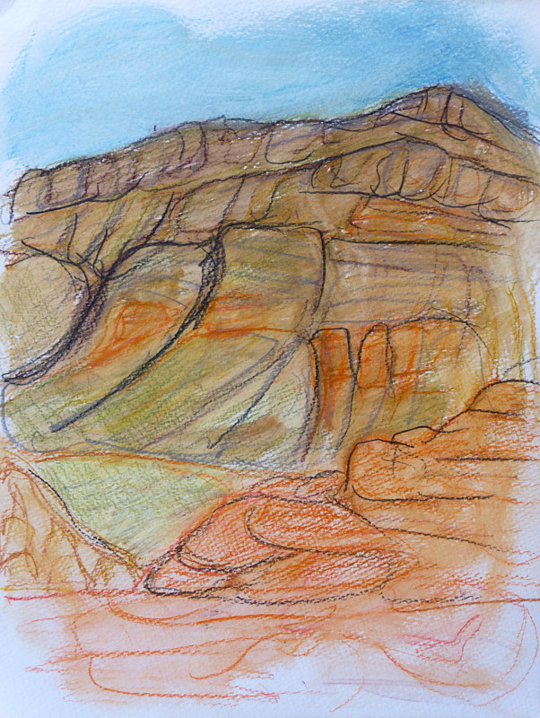 Mixed-media artwork Cliff  by Crystal Dipietro