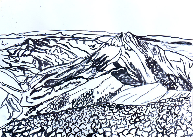 Drawing Desert Landscape #2 by Crystal Dipietro