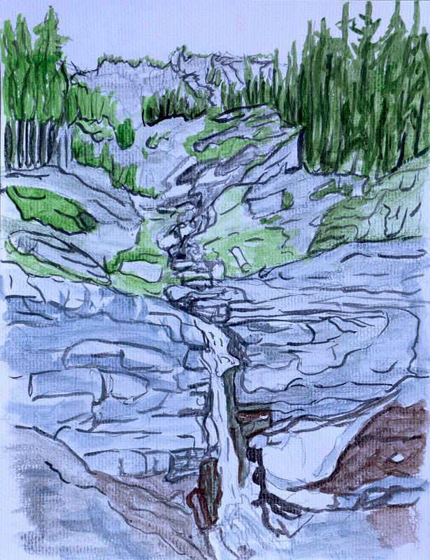 Watercolor Lee Canyon Waterfall  by Crystal Dipietro