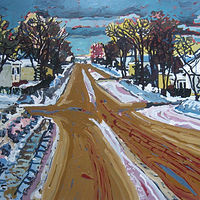 Acrylic painting PrairieTown, RESERVED FOR KATHERINE S.  by Harry Stooshinoff