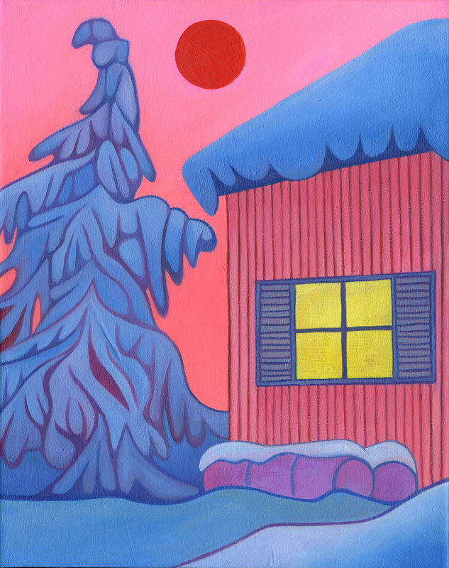 Oil painting Pink House by Claire Cepukas