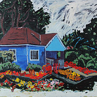 Acrylic painting Blue Summer House  by Harry Stooshinoff