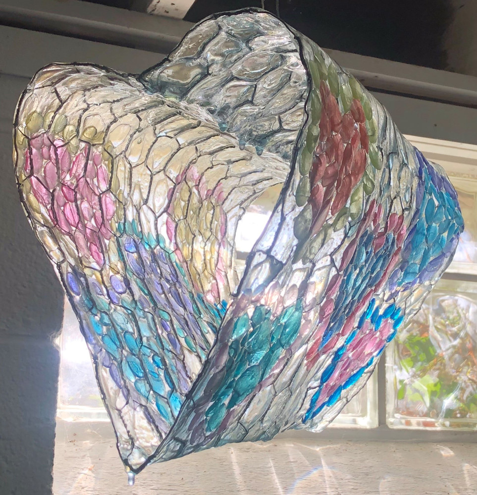 Acrylic painting The Light at The End of the Chicken Wire Heart Tunnel by Steven Simmons