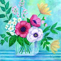 Acrylic painting Natures Promise - mixed florals in vase by Valerie Lesiak