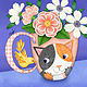 C is for Cat on Tea Cup with Canary  by Valerie Lesiak