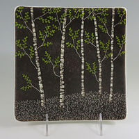 Aspen Plate with colored leaves. by Claudia Whitten
