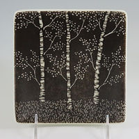 Black and white aspen plate by Claudia Whitten