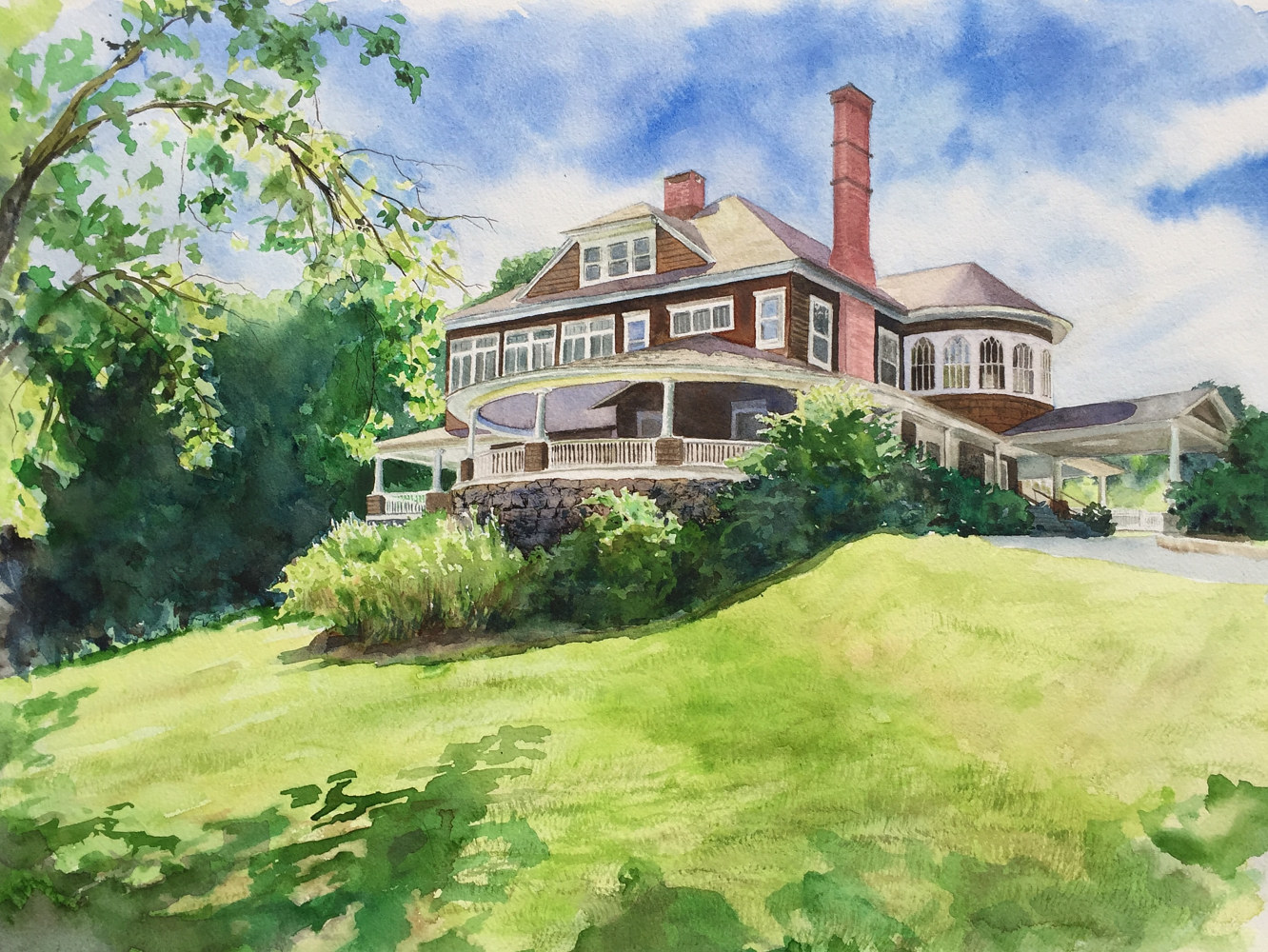 Watercolor Tarrywile Mansion Print by Elizabeth4361 Medeiros