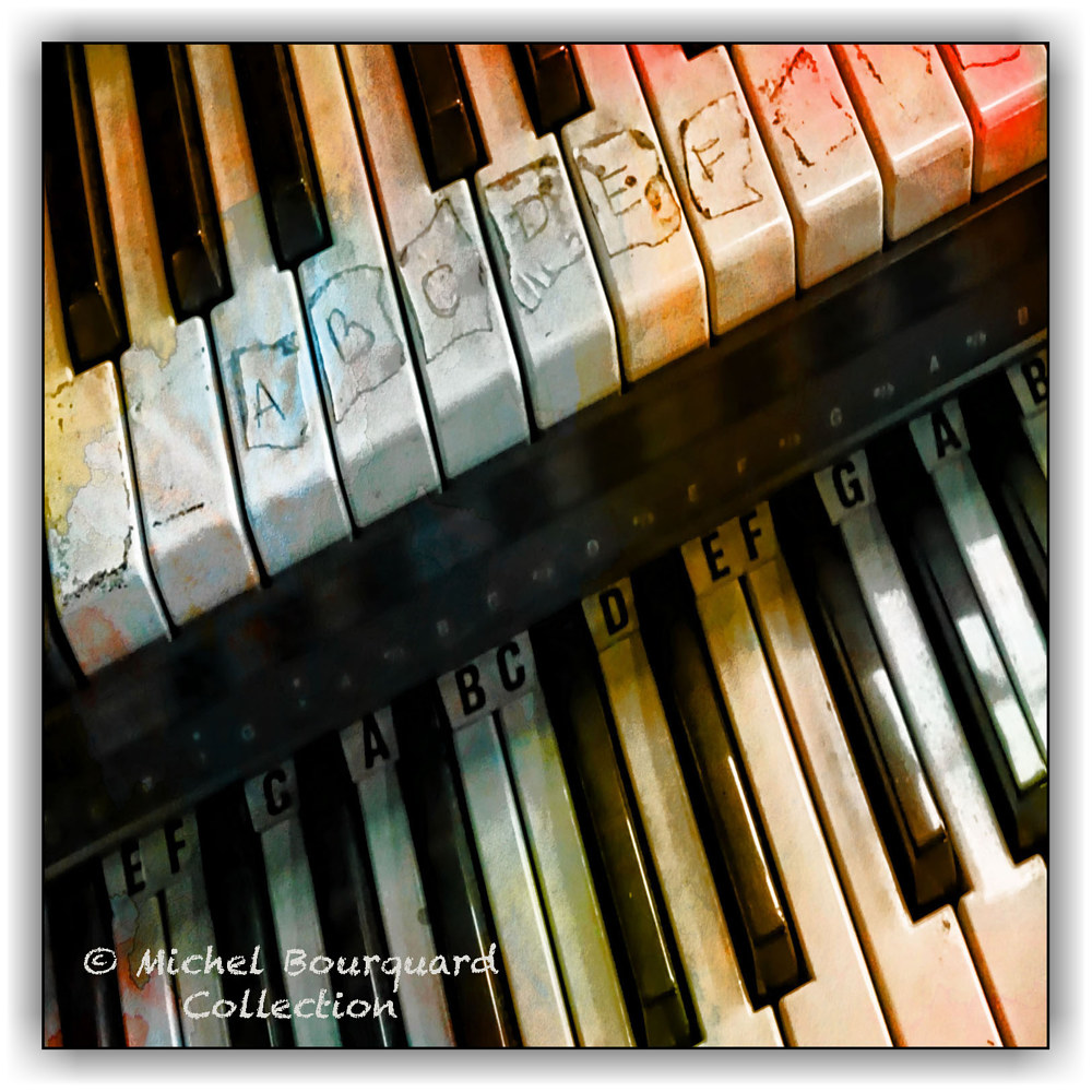 025-learning piano A B C - print  by Michel Bourquard